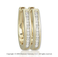 14k Yellow Gold 1/3 Carat Finely Diamond Studded Huggie Earrings