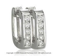 14k White Gold 1/3 Carat Attractive Diamond Huggie Earrings