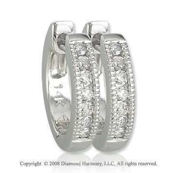14k White Gold 1/6 Carat Round Diamond Huggie Earrings