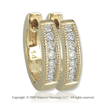 14k Yellow Gold 1/6 Carat Round Diamond Huggie Earrings