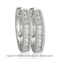 14k White Gold 1/3 Carat Elegant Diamond Huggie Earrings