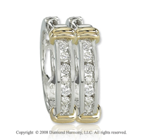 14k Two Tone Gold 1/4 Carat Elegant Diamond Huggie Earrings