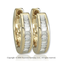 14k Yellow Gold 1/6 Carat Elegant Diamond Huggie Earrings