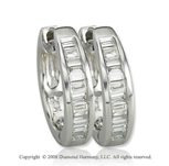 14k White Gold 1/3 Carat Baguette Diamond Huggie Earrings