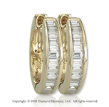 14k Yellow Gold 1/3 Carat Baguette Diamond Huggie Earrings