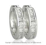 14k White Gold 1/2 Carat Baguette Diamond Huggie Earrings