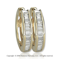 14k Yellow Gold 1/2 Carat Baguette Diamond Huggie Earrings
