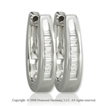 14k White Gold 1/6 Carat  Baguette Diamond Huggie Earrings