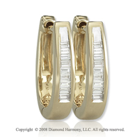 14k Yellow Gold 1/6 Carat Baguette Diamond Huggie Earrings