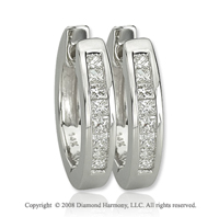14k White Gold 1/4 Carat Princess Diamond Huggie Earrings