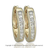 14k Yellow Gold 1/4 Carat Princess Diamond Huggie Earrings