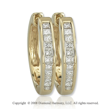 14k Yellow Gold 1/2 Carat Princess Diamond Huggie Earrings