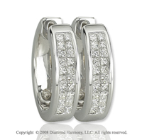 14k White Gold 1/2 Carat Princess Diamond Huggie Earrings