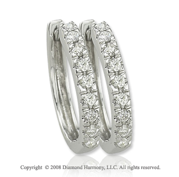 14k White Gold 1/4 Carat Classic Diamond Huggie Earrings