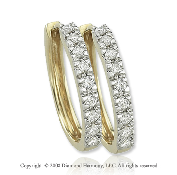 14k Yellow Gold 1/4 Carat Classic Diamond Huggie Earrings