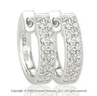 14k White Gold 1/6 Carat Diamond Huggie Earrings