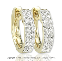 14k Yellow Gold 1/6 Carat Diamond Huggie Earrings