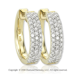 14k Yellow Gold 1/2 Carat Diamond Huggie Earrings