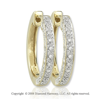 14k Yellow Gold 1/5 Carat Diamond Huggie Earrings