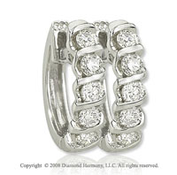 14k White Gold 1/5 Carat Diamond Huggie Earrings