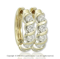 14k Yellow Gold 1/3 Carat Diamond Huggie Earrings