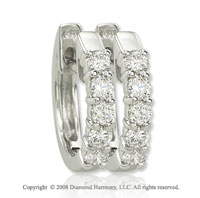 14k White Gold 1/3 Carat Classic Diamond Huggie Earrings