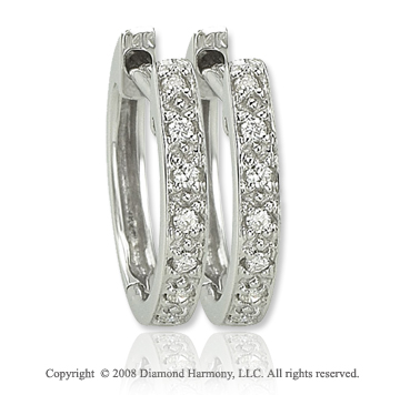 14k White Gold Sleek Diamond Huggie Earrings