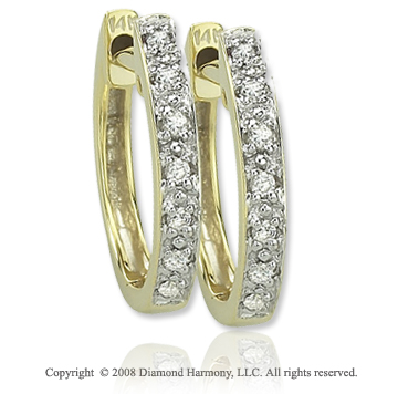 14k Yellow Gold Sleek Diamond Huggie Earrings