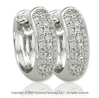 14k White Gold 1/6 Carat Elegant Diamond Huggie Earrings