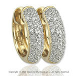 14k Yellow Gold 1/4 Carat  Elegant Diamond Huggie Earrings