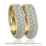 14k Yellow Gold 1/3 Carat Elegant Diamond Huggie Earrings
