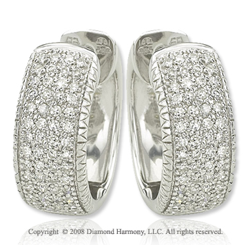 14k White Gold 2/5 Carat Elegant Diamond Huggie Earrings