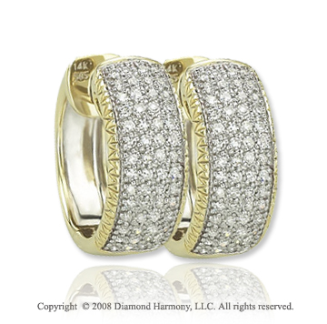 14k Yellow Gold 2/5 Carat Elegant Diamond Huggie Earrings