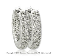 14k White Gold 1/2 Carat Sleek Diamond Huggie Earrings