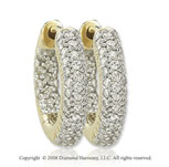 14k Yellow Gold 1/2 Carat Sleek Diamond Huggie Earrings