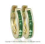 14k Yellow Gold .70 Carat Stunning Emerald Huggie Earrings