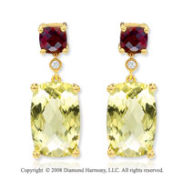 14k Yellow Gold Garnet & Lime Quartz Drop Earrings