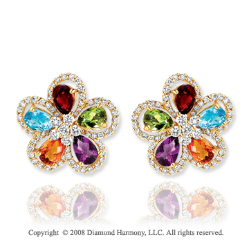 14k Yellow Gold Multi Gemstone 0.85 Carat Diamond Earrings