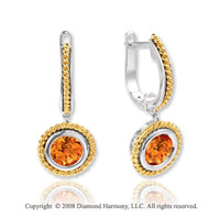 14k Two Tone 2.20 Carat Citrine Rope Drop Earrings
