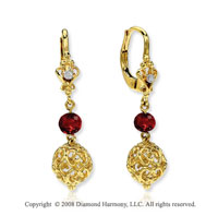14k Yellow Gold  Garnet Diamond Filigree Drop Earrings