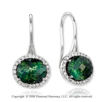14k White Gold 5 1/2 Carat Green Topaz 1/3 Carat Diamond Earrings