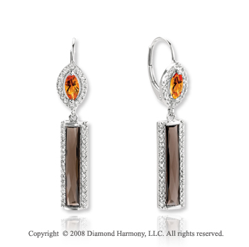 14k White Gold Multi Gemstone .40 Carat Diamond Drop Earrings