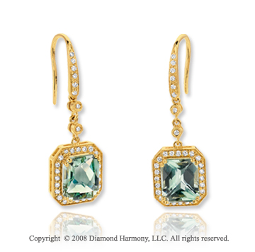 14k Yellow Gold 6.70 Carat Green Amethyst .45 Carat Diamond Earrings