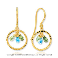 14k Yellow Gold Multi Gemstone Drop Earrings