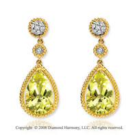 14k Yellow Gold 8.20 Carat Pear Lime Quartz Diamond Earrings