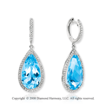 14k White Gold 19 Carat Blue Topaz 1/2 Carat Diamond Drop Earrings