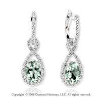 14k White Gold 3.80 Carat Green Amethyst .40 Carat Diamond Earrings