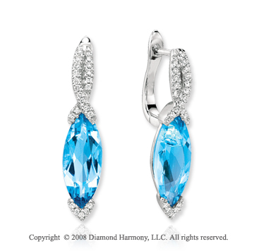 14k White Gold Marquise Blue Topaz Diamond Drop Earrings