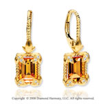 14k Yellow Gold Sophisticated Citrine Diamond Drop Earrings