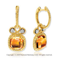 14k Yellow Gold 5.40 Carat Cabochon Citrine Diamond Earrings